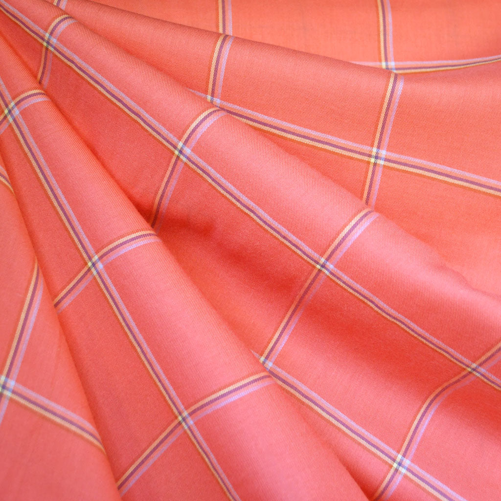 Windowpane Plaid Rayon Shirting Coral - Sold Out - Style Maker Fabrics