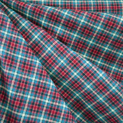Cozy Cotton Flannel Check Plaid Teal/Fuchsia