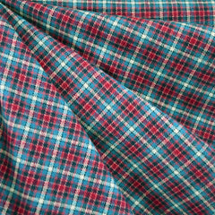 Cozy Cotton Flannel Check Plaid Teal/Fuchsia - Fabric - Style Maker Fabrics