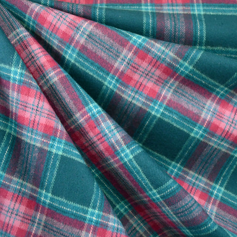Cozy Cotton Flannel Plaid Teal/Fuchsia SY