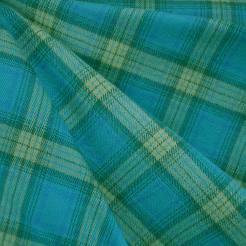 Cozy Cotton Flannel Plaid Teal/Lime