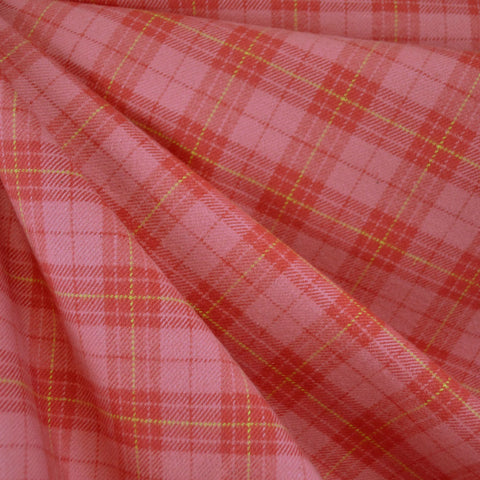 Cozy Cotton Flannel Tonal Plaid Coral