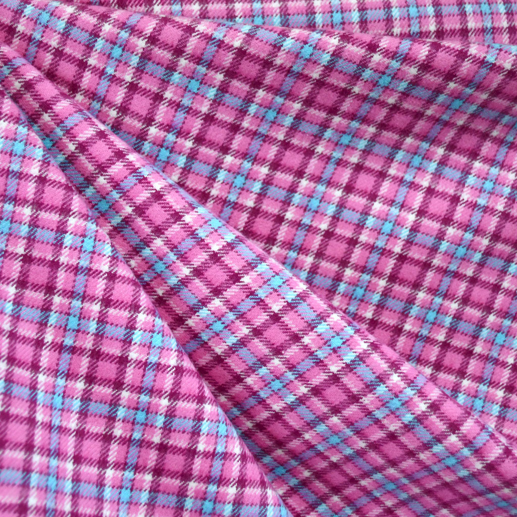 Cozy Cotton Flannel Check Plaid Pink/Plum - Fabric - Style Maker Fabrics