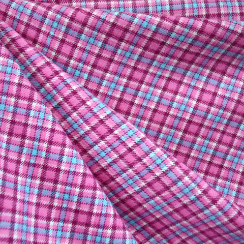 Cozy Cotton Flannel Check Plaid Pink/Plum