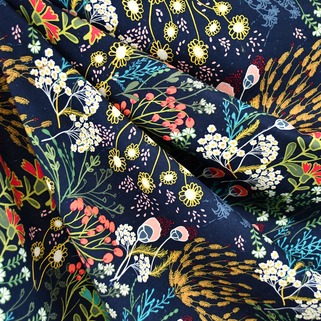Indie Folk Meadow Rayon Navy/Multi - Sold Out - Style Maker Fabrics
