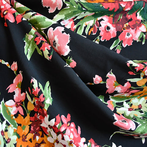 Watercolor Floral Bouquet Rayon Challis Black