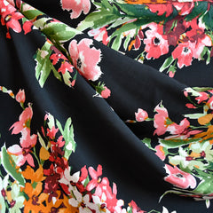 Watercolor Floral Bouquet Rayon Challis Black SY - Sold Out - Style Maker Fabrics