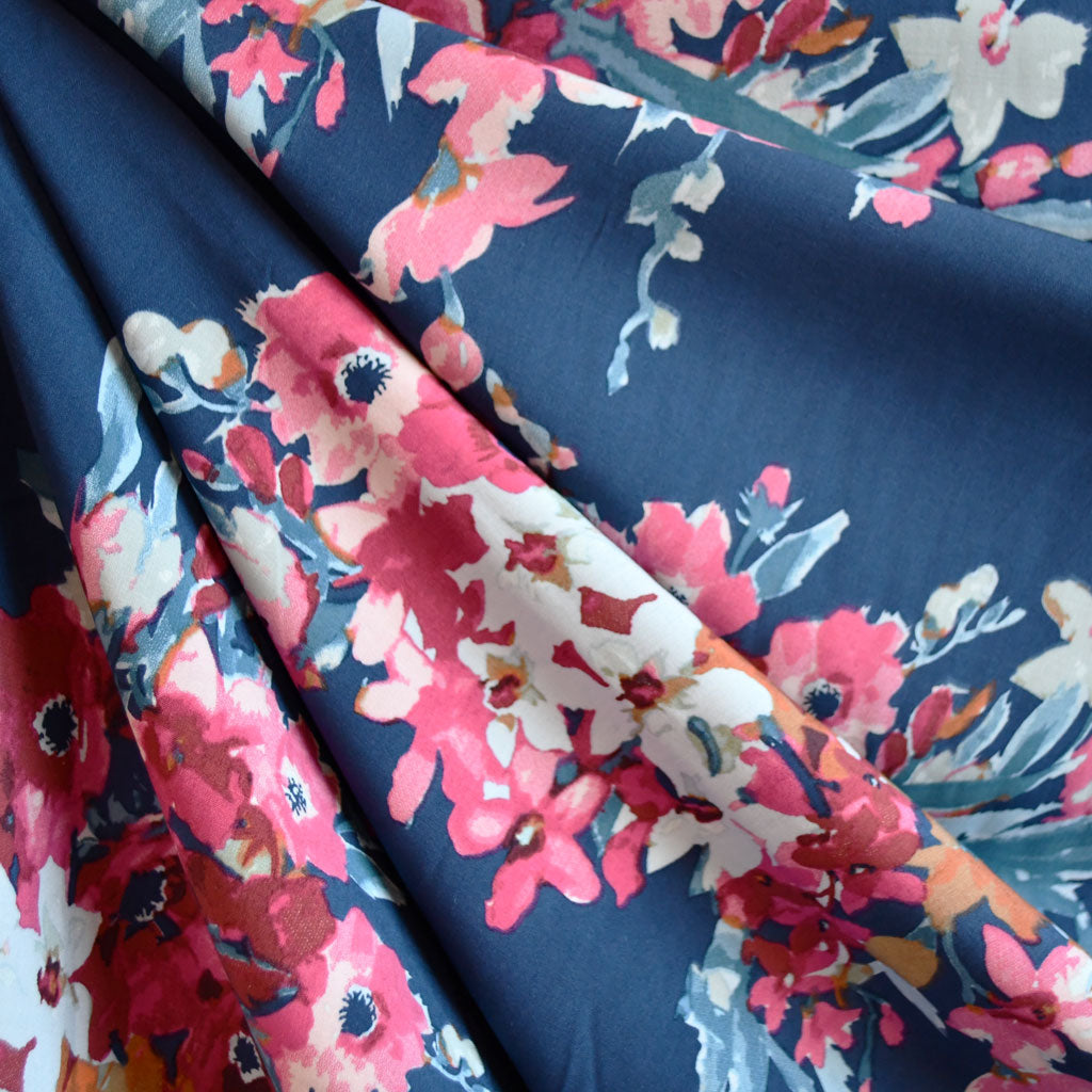 Watercolor Floral Bouquet Rayon Challis Denim - Sold Out - Style Maker Fabrics