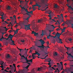 Dimensional Rose Jacquard Red/Black - Sold Out - Style Maker Fabrics
