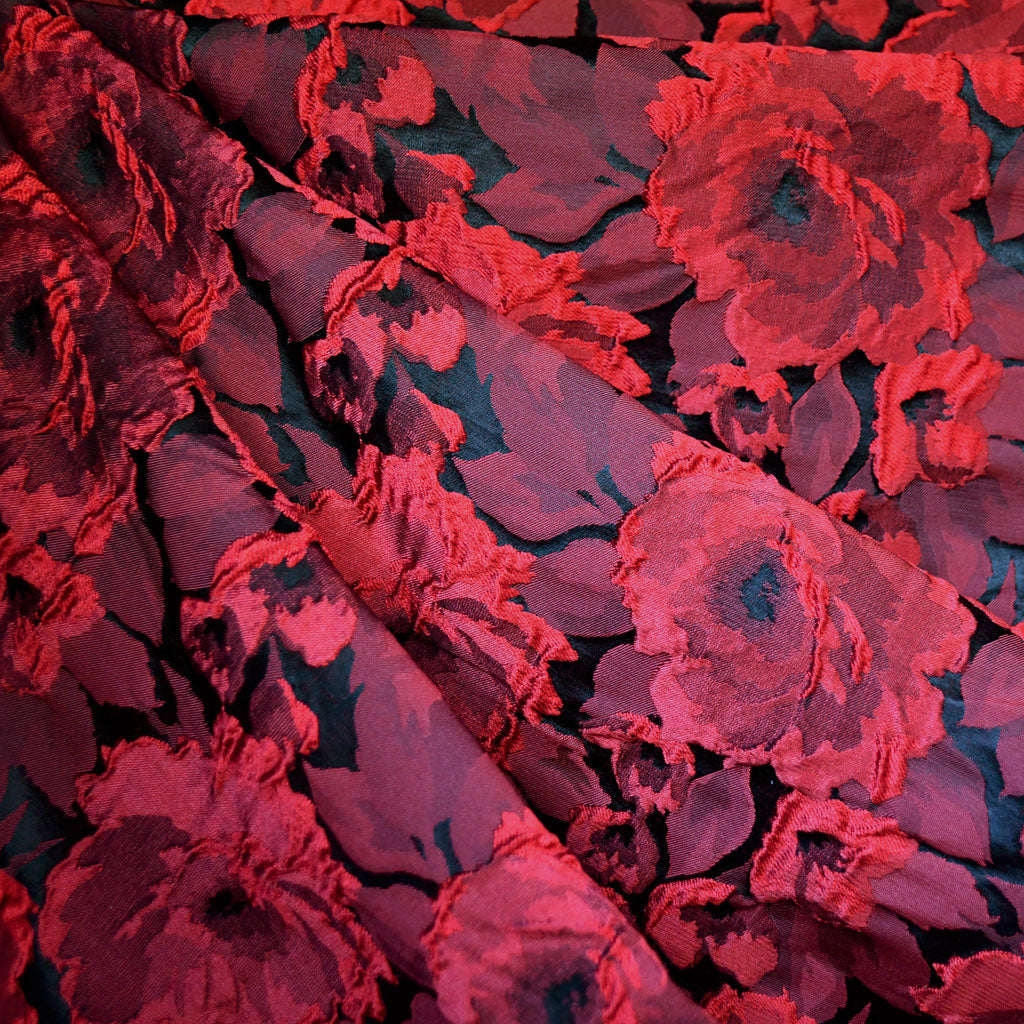 Dimensional Rose Jacquard Red/Black - Fabric - Style Maker Fabrics