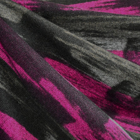 Brushstroke Wool Double Knit Grey/Fuchsia