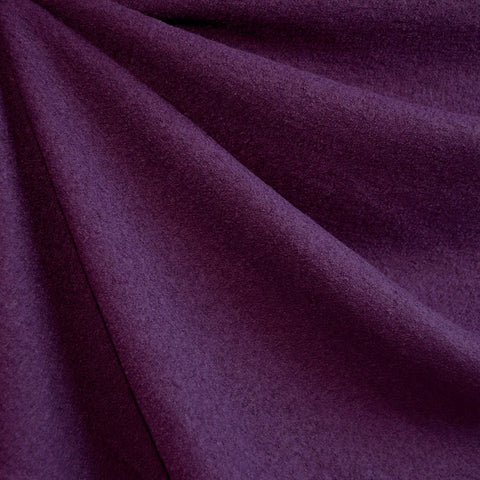 Boiled Wool Blend Coating Aubergine