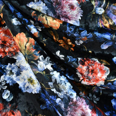Digital Floral Panne Velvet Black/Multi - Sold Out - Style Maker Fabrics