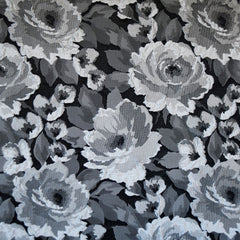 Dimensional Rose Jacquard Silver/Black - Fabric - Style Maker Fabrics