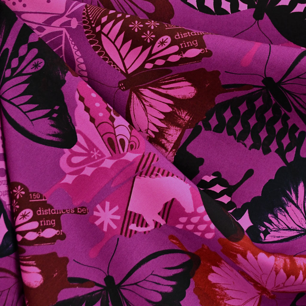 Flutter Butterfly Rayon Fuchsia SY - Sold Out - Style Maker Fabrics
