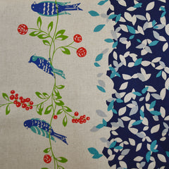 Japanese Kokka Bird Single Border Canvas Natural/Blue SY - Sold Out - Style Maker Fabrics