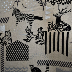 Japanese Echino Animal Geometric Canvas Natural/Silver - Fabric - Style Maker Fabrics