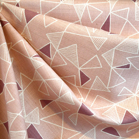 Japanese Tonal Geometric Barkcloth Blush