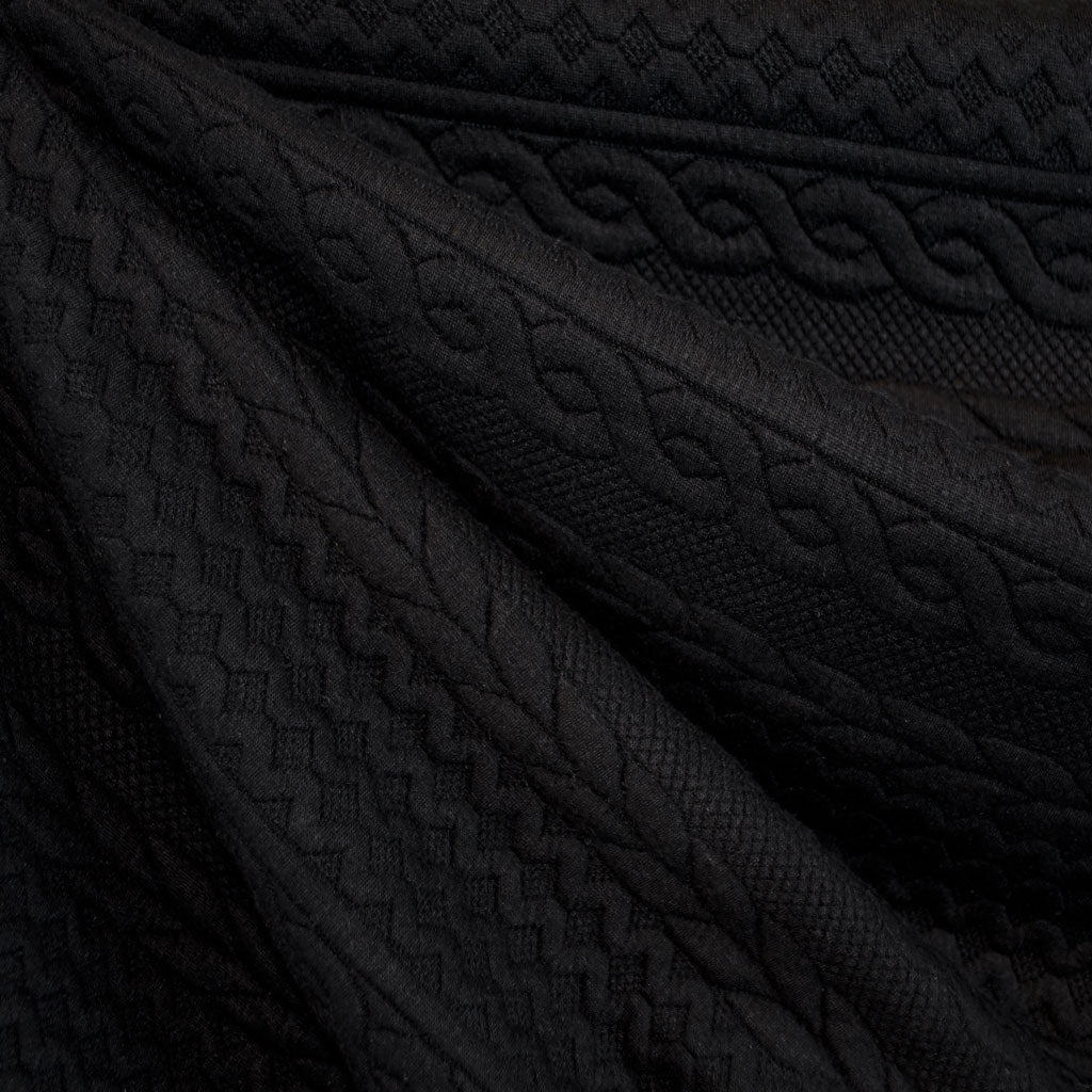 Quilted Cable Double Knit Black - Sold Out - Style Maker Fabrics