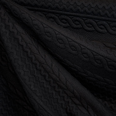 Quilted Cable Double Knit Black
