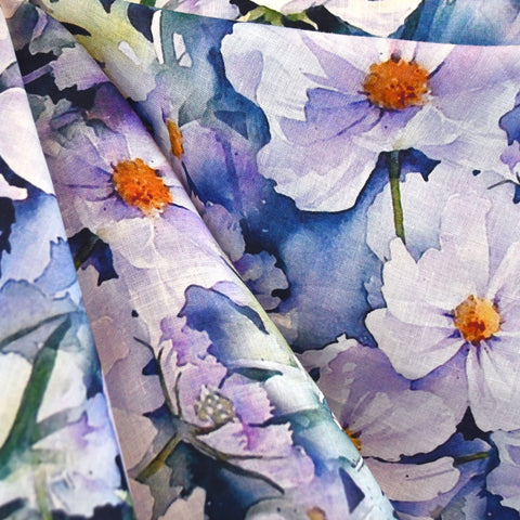 Watercolor Floral Digital Print Linen Shirting Lilac