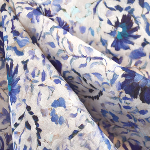 Brushstroke Floral Digital Print Linen Shirting Blue