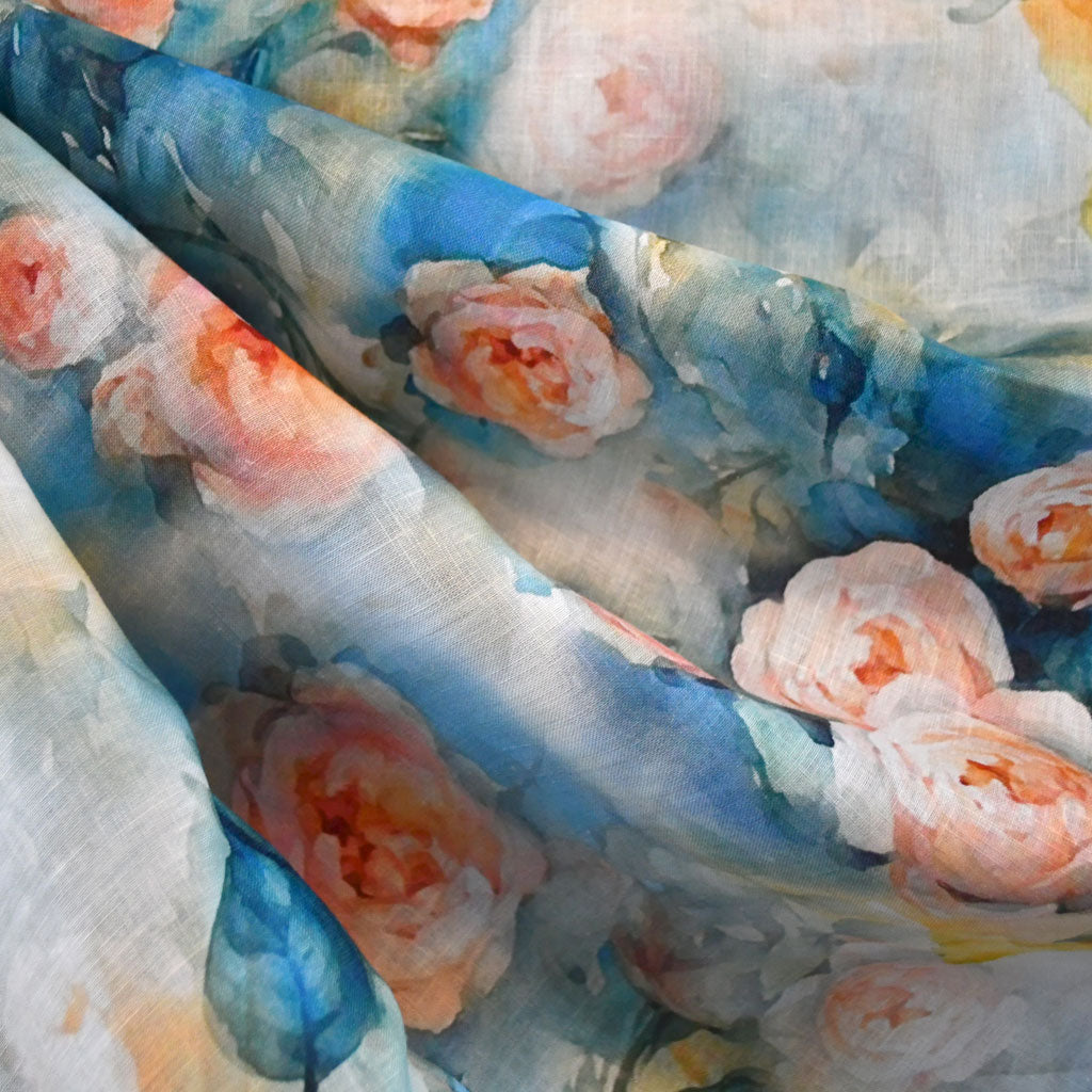 Watercolor Roses Digital Print Linen Shirting Turquoise - Sold Out - Style Maker Fabrics