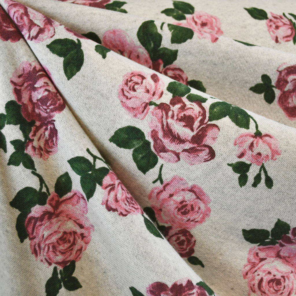 Romantic Floral French Terry Vanilla/Rose - Sold Out - Style Maker Fabrics