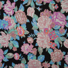 Spring Floral French Terry Black/Pink - Fabric - Style Maker Fabrics