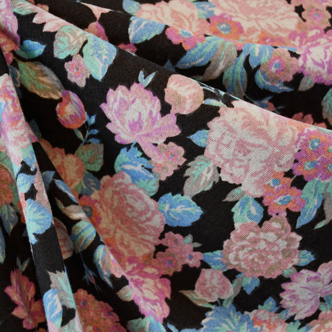 Spring Floral French Terry Black/Pink