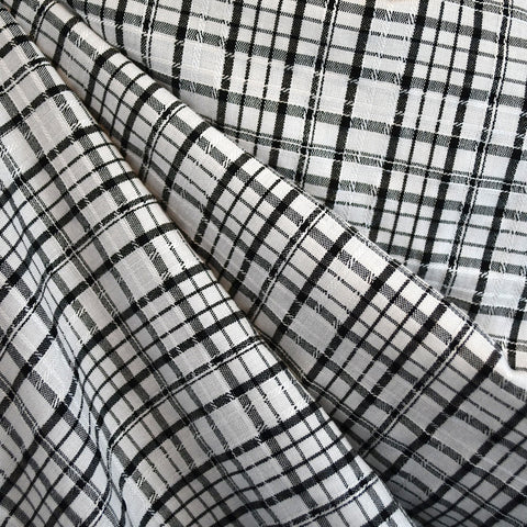 Stitch Texture Plaid Shirting Cream/Black