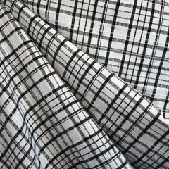 Stitch Texture Plaid Shirting Cream/Black - Fabric - Style Maker Fabrics
