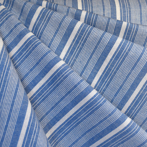 Chambray Stripe Linen Blend Shirting Blue/Cream