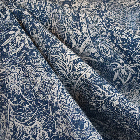 Paisley Floral Linen Print Denim/Natural