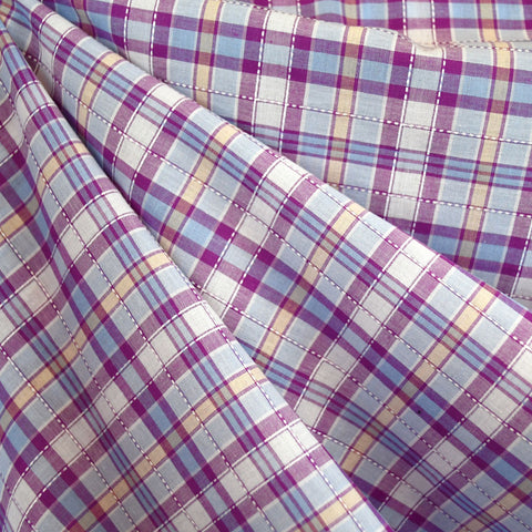 Stitch Textured Plaid Cotton Shirting Lavender/Blue