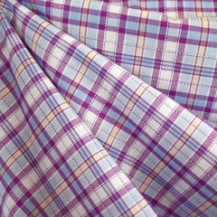 Stitch Textured Plaid Cotton Shirting Lavender/Blue SY - Selvage Yard - Style Maker Fabrics