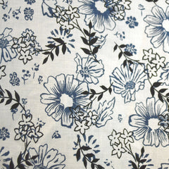 Vine Floral Linen Print Vanilla/Denim SY - Sold Out - Style Maker Fabrics
