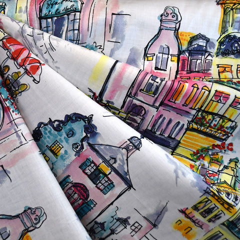 Japanese Street Scene Digital Print Cotton Lawn Multi