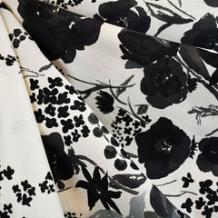 Japanese Nani Iro Floral Cotton Lawn Cream/Black SY - Sold Out - Style Maker Fabrics