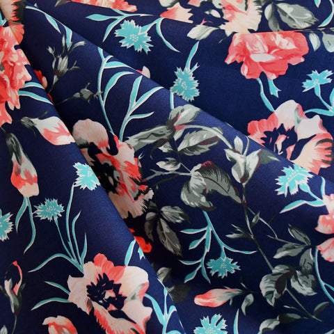 Japanese Spring Floral Cotton Lawn Navy/Coral