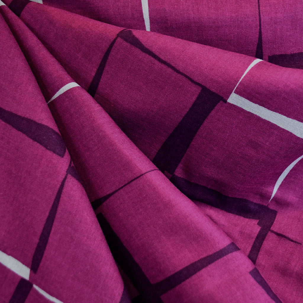 Japanese Double Gauze Interlocking Squares Plum - Fabric - Style Maker Fabrics
