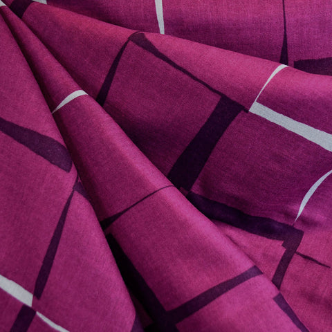 Japanese Double Gauze Interlocking Squares Plum