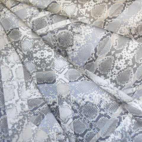 Abstract Reptile Stretch Sateen Grey/Taupe