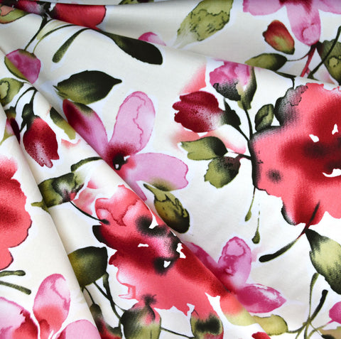 Watercolor Floral Stretch Sateen Cream/Red
