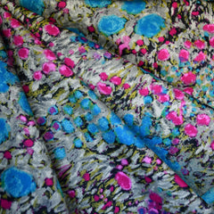 Abstract Floral Stretch Twill Teal/Magenta - Sold Out - Style Maker Fabrics