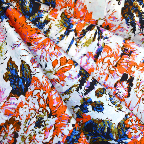 Pixel Floral Stretch Sateen Sky/Orange
