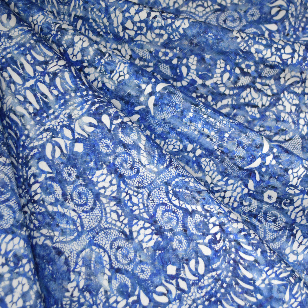 Watercolor Lace Print Stretch Sateen Blue/White - Fabric - Style Maker Fabrics