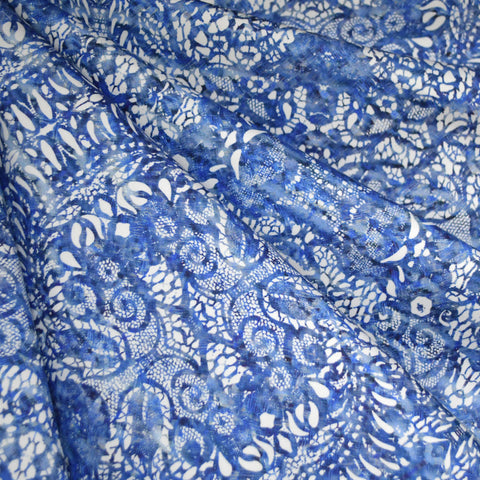 Watercolor Lace Print Stretch Sateen Blue/White