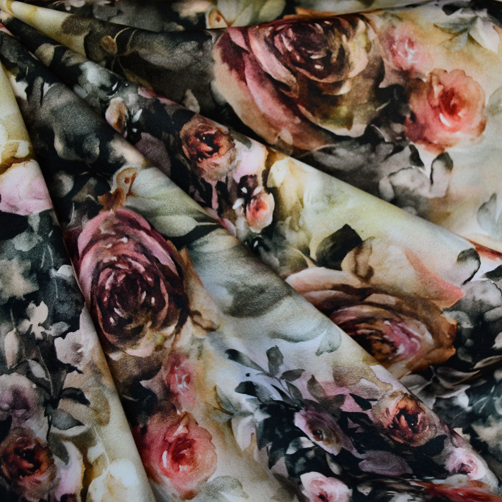 Elegant Watercolor Floral Stretch Sateen Natural - Fabric - Style Maker Fabrics