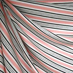 Summer Stripe Rib Jersey Knit Coral - Sold Out - Style Maker Fabrics